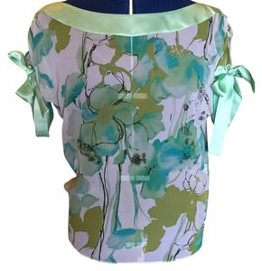 David Cardona Top Ivory / mint / turquoise