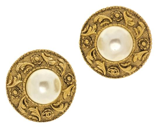 Chanel Chanel Vintage Button Pearl Charms Motif Earrings