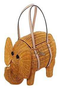 Kate Spade Wicker Elephant Satchel in Natural