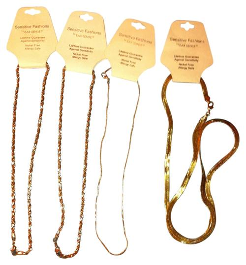 Sears 4-Peice Necklace Lot All Brand New 2 Gold PlatedKnotted,1 Large Thick Goldplated/1 Silverplated Necklace's All Allergy & Nickel Free (Bought @ Sears) Retail $58