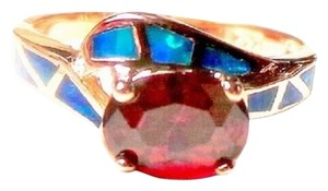 Gorgeous Oval Faceted Deep Red Quartz Accented with Blue Fire Opal 7