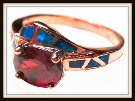 Other Gorgeous Oval Faceted Deep Red Quartz Accented with Blue Fire Opal 7