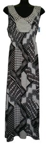 Black & White Maxi Dress by One World Sleeveless Studded Applique Front