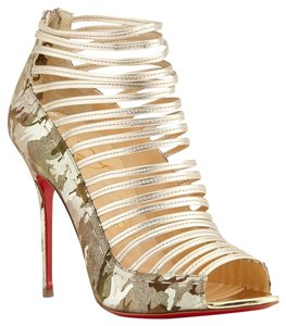 Christian Louboutin Gortika Camo Gold Open Toe Sandals 36 6 Gold, Camo Boots