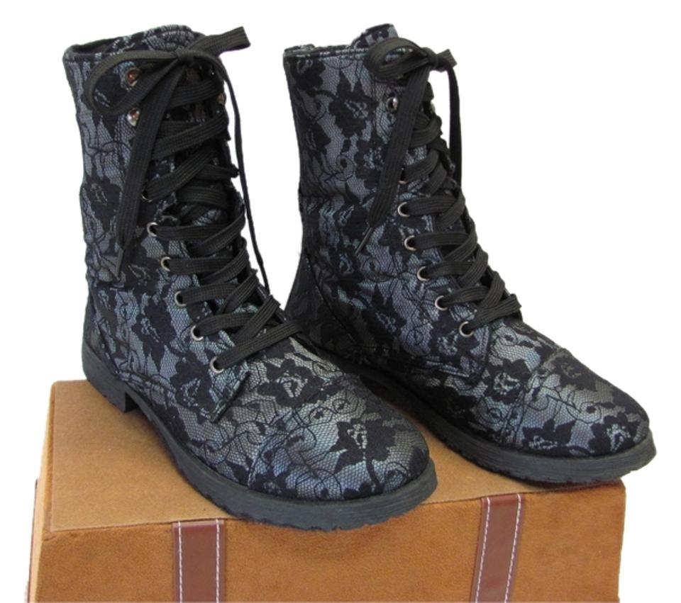 Black Boots/Booties Blueish/Gray Excellent Condition M Boots/Booties Black 28ad6b