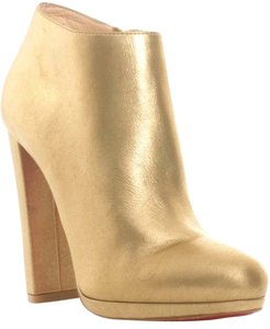 Christian Louboutin Rock& 120 Mm Metallic Leather Ankle 36 6 Rock Gold Boots