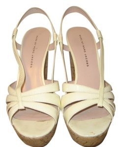 Marc Jacobs Wedge Cork Patent Ivory Sandals