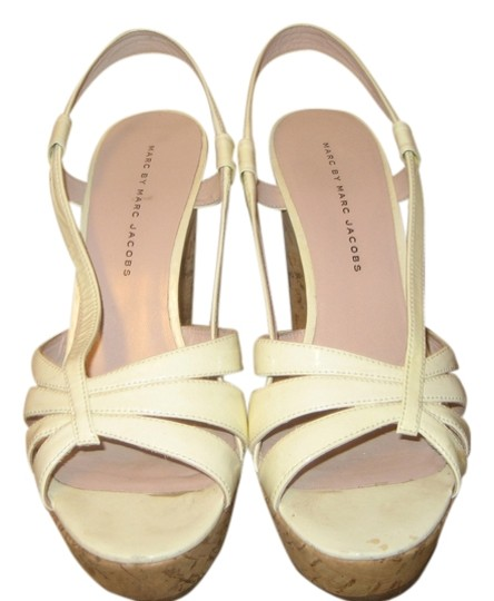 Marc Jacobs Wedge Cork Patent Slingback Ivory Sandals