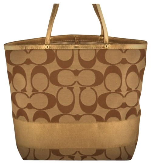 Preload https://item1.tradesy.com/images/coach-signature-gold-canvas-tote-536660-0-0.jpg?width=440&height=440