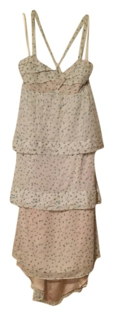 Item - Ivory with Dark Mint Green Floral Print Long Cocktail Dress Size 6 (S)