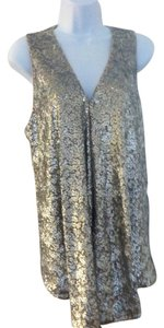 Alice + Olivia + Vest Sleeveless Vest Elegant Vest Evening Wear Sale Top SILVER SEQUIN