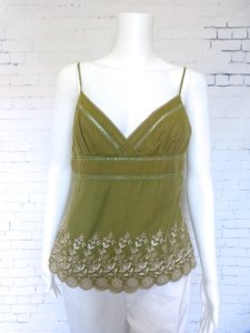bebe Silk Embroidered Floral Top Green