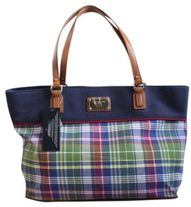 Tommy Hilfiger Plaid Nautical Tote in Blue