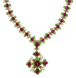 Chanel Chanel Rare Vintage Red and Green Gripoix Necklace