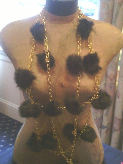 Tracey Vest Faux mink silver tone chain necklace