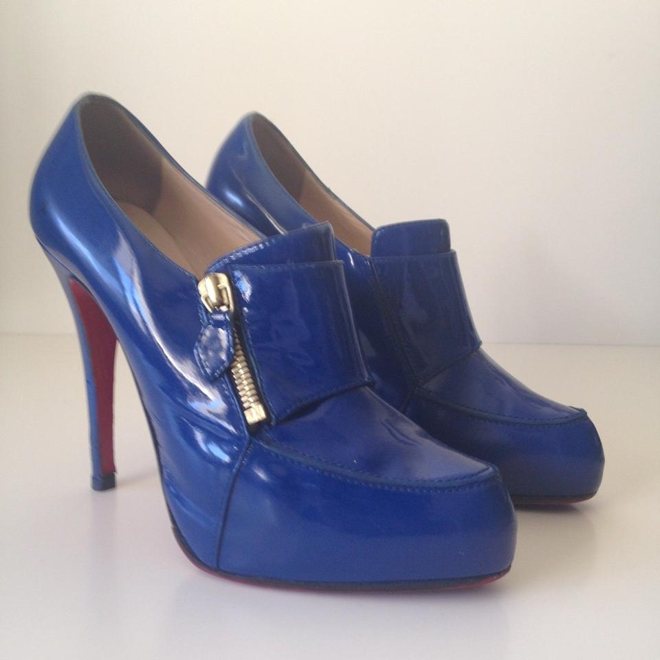 5425c2079df Christian Louboutin Blue Patent Lapano 120 Zip Platform Boots Booties Size  US 8.5 - Tradesy