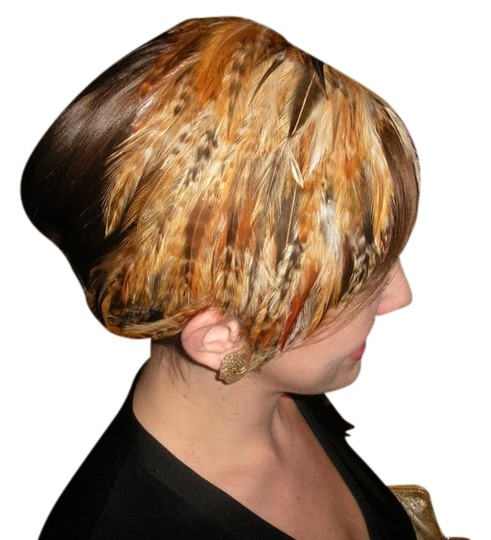 Tracey Vest Holiday Formal Multi Brown Feather Headband Fascinator