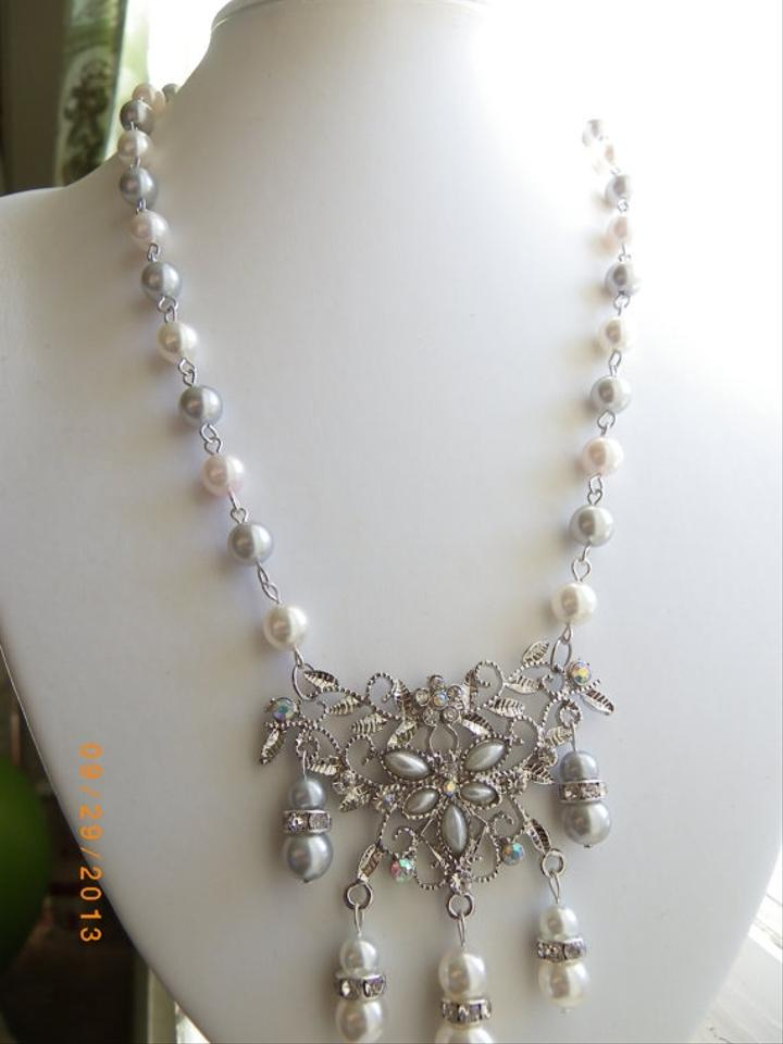 Handmade Bridal Necklace Bridal Pearl Necklace White Grey