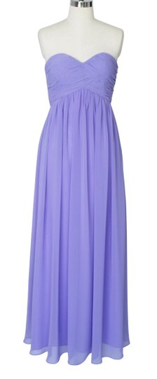 Purple Chiffon Strapless Sweetheart Long Formal Bridesmaid/Mob Dress Size 14 (L)