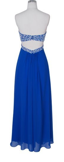 Blue Chiffon Crystal Beads Bodice Open Back Long Formal Bridesmaid/Mob Dress Size 6 (S)