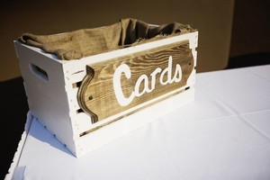 White Rustic Wood and Burlap Card Box Ceremony Decoration
