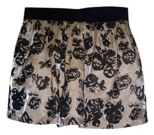 Forever 21 Mini Skirt Multi Shimmering Beige/Black
