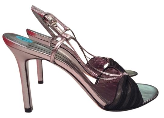 Laundry by Shelli Segal Muted Silver with Some Sheer Black Fabric Pumps