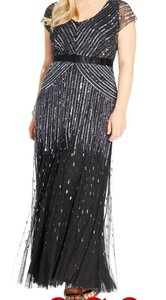 Adrianna Papell Navy Nylon Cap Sleeve Beaded Sequined Gown Formal Bridesmaid/Mob Dress Size 16 (XL, Plus 0x)