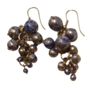 Other Bead dangles earrings silvery and blue.