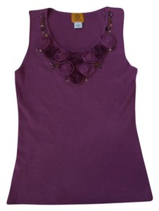 Ruby Rd. Flower Embellished Scoop Neckline Sleeveless Ribbed Sweater Tags Maybe Missing Top Purple