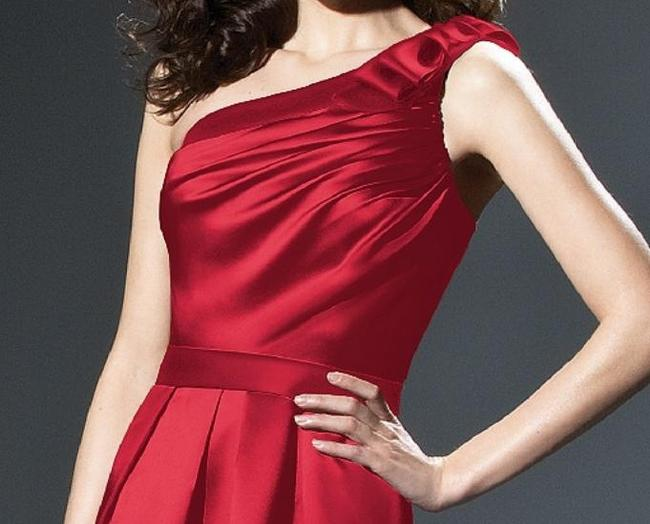 Dessy One Shoulder Knee Length Satin Dress