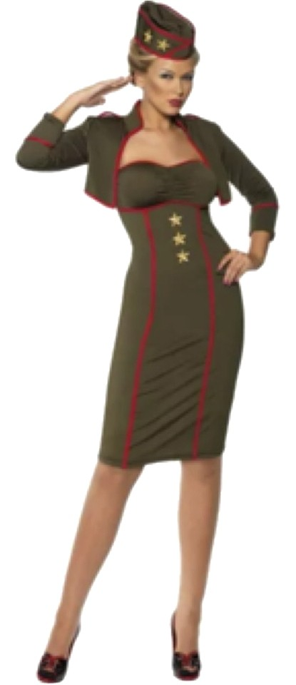 Army Green Sexy Military Uniform Pin Up Girl Costume Or Role Play Skirt  Suit Size 10 (M)
