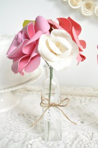 9 Sets Of Pink Beige And White Paper Flower Bouquets With Glass Vase Wrapped With Twine