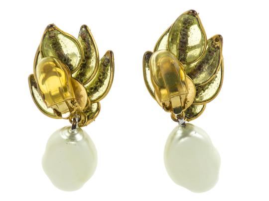 Chanel Chanel Vintage Floral Pearl Rhinestone Dangle Earrings