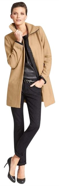 Preload https://item4.tradesy.com/images/ann-taylor-toastcamel-faux-leather-trim-wool-blend-pea-coat-size-12-l-537738-0-2.jpg?width=400&height=650