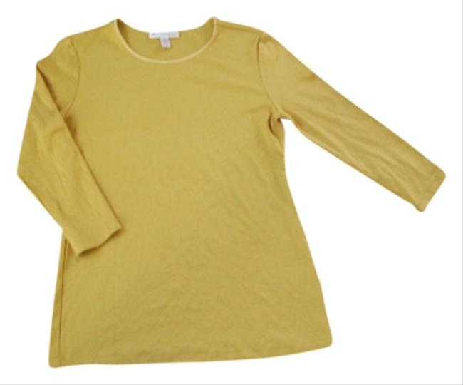 JM Collection New Without Tags Pullover Styling 3/4 Sleeve Easy Fit T Shirt Gold