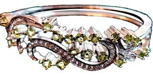 Other Lovely Peridot and White Zircon 925 Sterling Silver 14k Bangle Bracelet