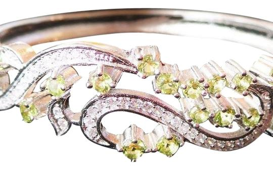 Other Lovely Peridot and White Zirconia 925 Sterling Silver Bangle Bracelet