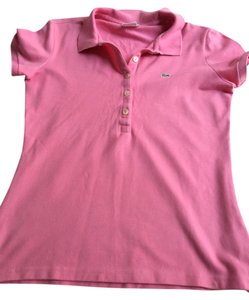 Lacoste Fitted Polo Top Pink