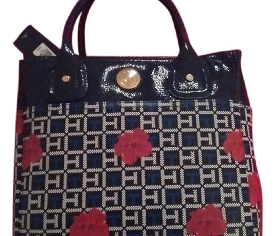 2d0d52cf380a Tommy Hilfiger Small Tote Navy Blue Red and White Faux Leather ...