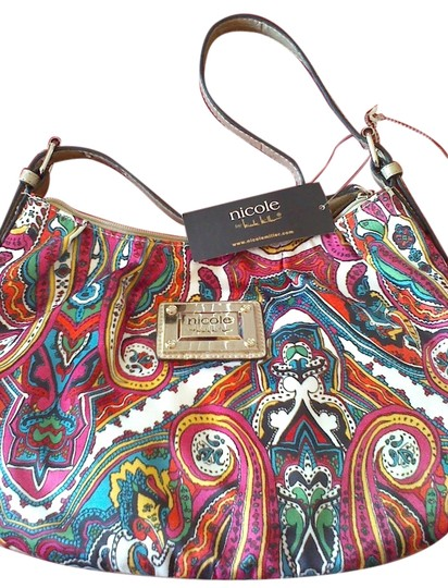 Preload https://item5.tradesy.com/images/nicole-miller-nice-multi-colored-fushia-teal-white-green-and-yello-satin-fabric-with-faux-leather-st-5380204-0-0.jpg?width=440&height=440