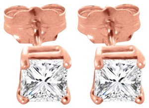 1 TCW Princess Cut Diamond Stud Earrings in 14K Rose Gold