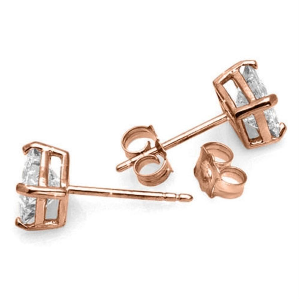 Other 1 Tcw Princess Cut Diamond Stud Earrings In 14k Rose Gold