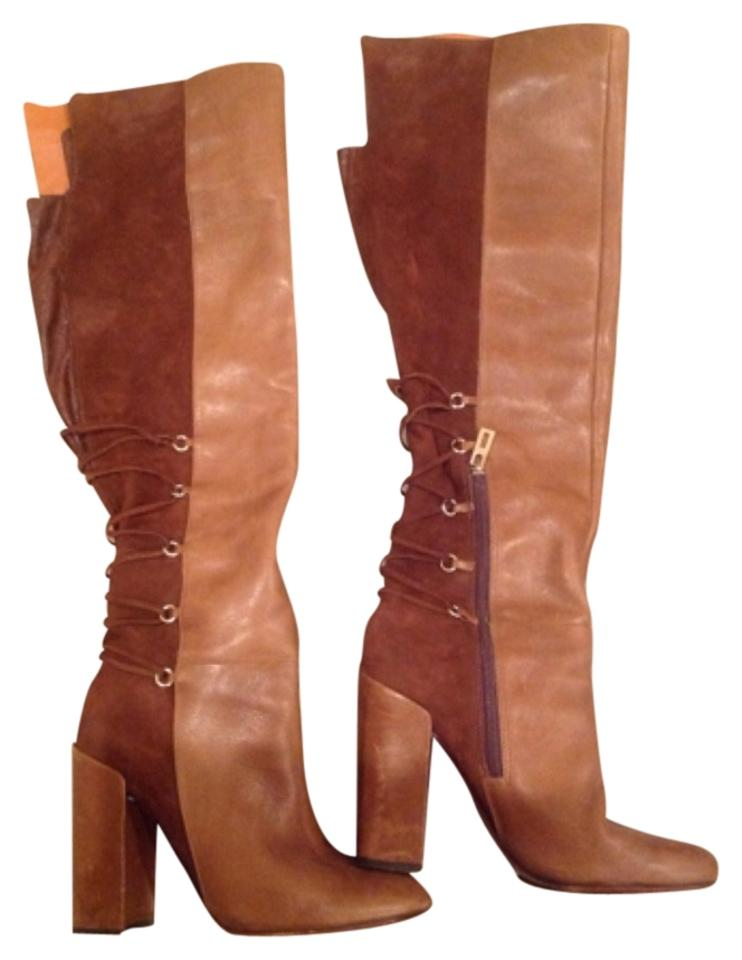 SCHUTZ Brown/ Tan Above Suede The Knee Leather and Suede Above Boots/Booties 1fe92b