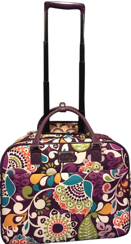 Vera Bradley Plum Crazy Rolling Work Purple Fl Travel Bag