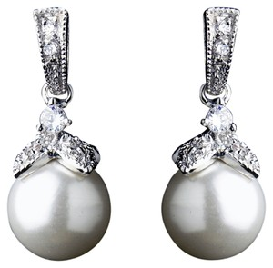 Elegance by Carbonneau Elegance by Carbonneau Crystal & Diamond White Pearl Dangle Drop Bridal Earrings 8675
