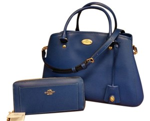Coach Crossgrain Leather Satchel in Denim/Blue