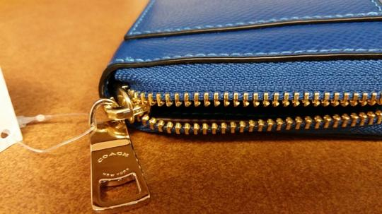 Coach Crossgrain Leather Carryall Matching Wallet Cross Body Strap Gold Studs Satchel in Denim/Blue