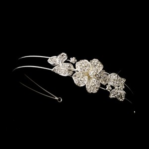 Elegance By Carbonneau Rhinestone Floral Side Bridal Headpiece Headband 628