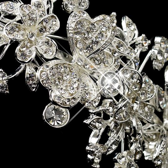 Elegance by Carbonneau Silver Rhinestone Butterfly Side Accented Headband 16914 Hair Accessory